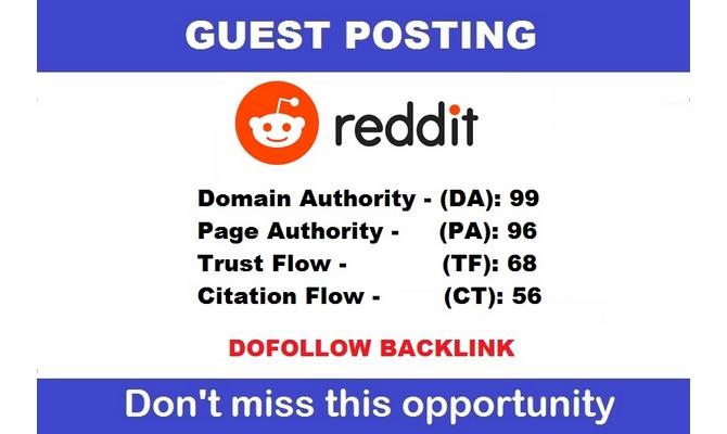 publish guest post  / backlink dofollow from reddit.com - DA 97